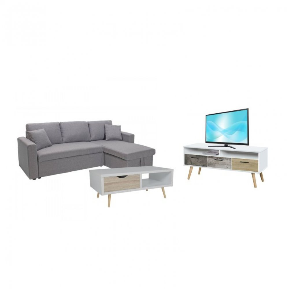 Φοιτητικό σετ 3τμχ καναπές/κρεβάτι-έπιπλο tv-τραπέζι σαλονιού
