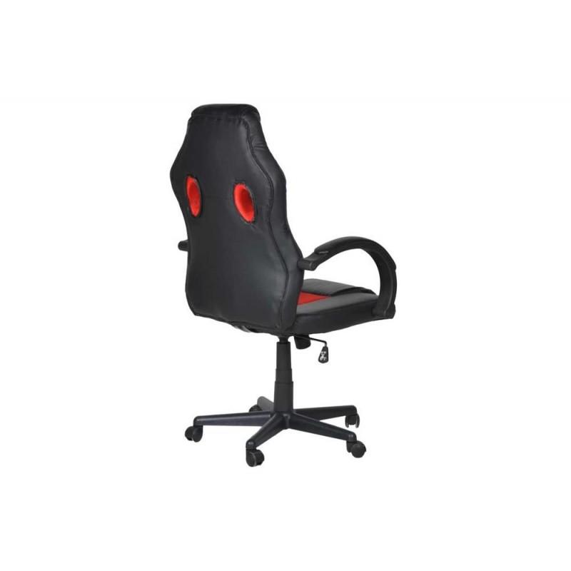 """Πολυθρόνα γραφείου διευθυντή """"Bucket"""" από pu σε χρώμα μαύρο-κόκκινο 62x68x111/121"""