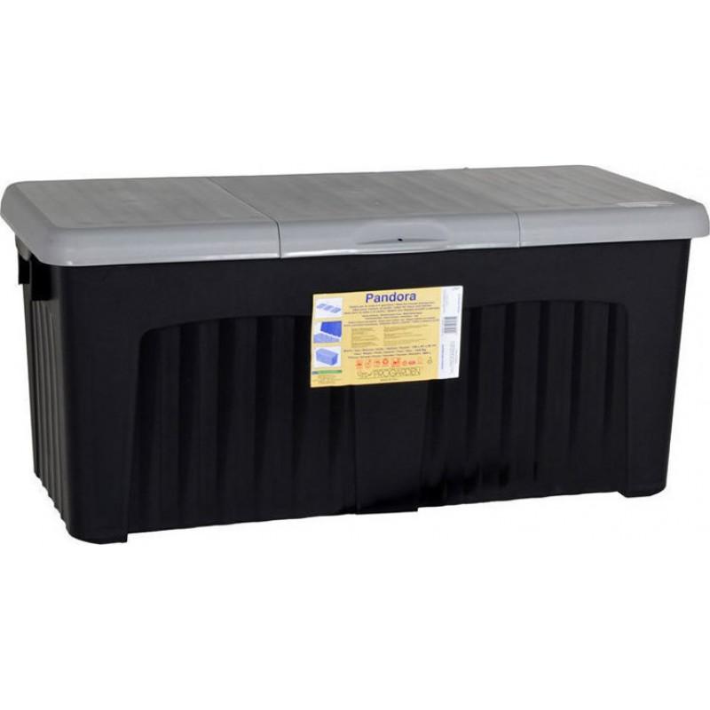 """Μπαούλο αποθήκευσης """"PANDORA"""" 265L σε χρώμα γκρι - μαύρο 125x57x56"""