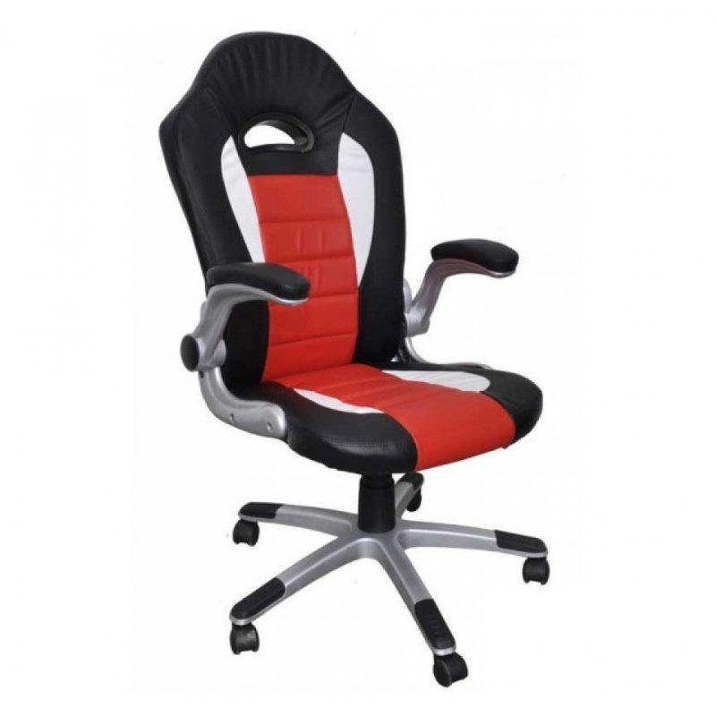 """Πολυθρόνα γραφείου διευθυντή """"Bucket"""" από pu σε χρώμα μαύρο-κόκκινο-λευκό 63x74x113/123"""