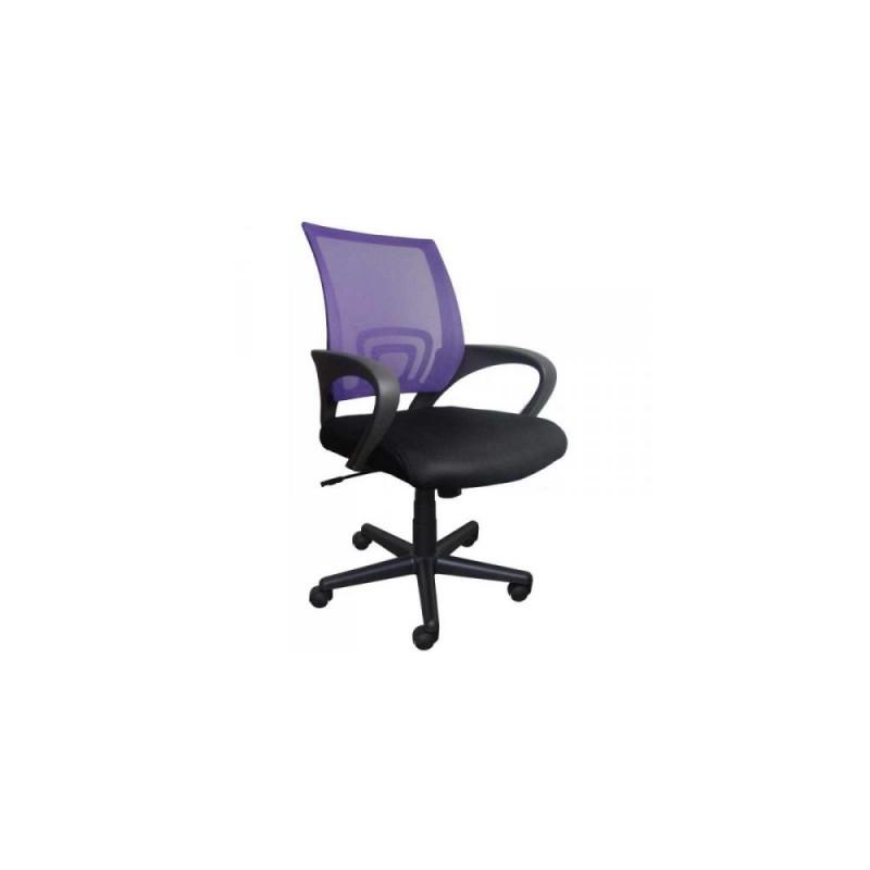 Πολυθρόνα γραφείου εργασίας σε χρώμα μαύρο-μώβ 59x60x80/90