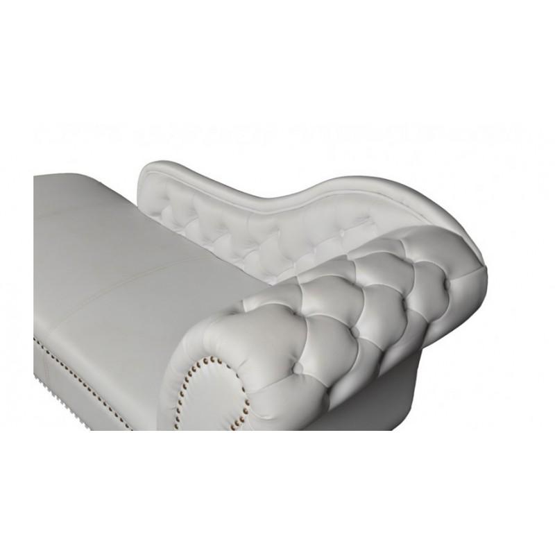 Ανάκλινδρο τ.chesterfield σε λευκό χρώμα αριστερό μπράτσο 174x60x80