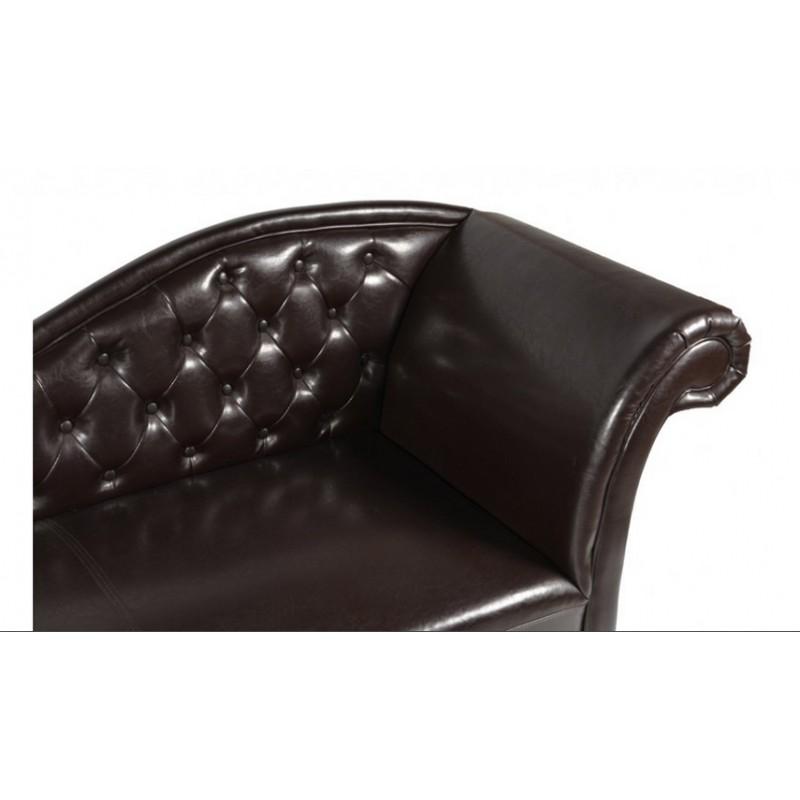 Ανάκλινδρο τ.chesterfield σε σκούρο καφέ χρώμα δεξί μπράτσο 190x61x84