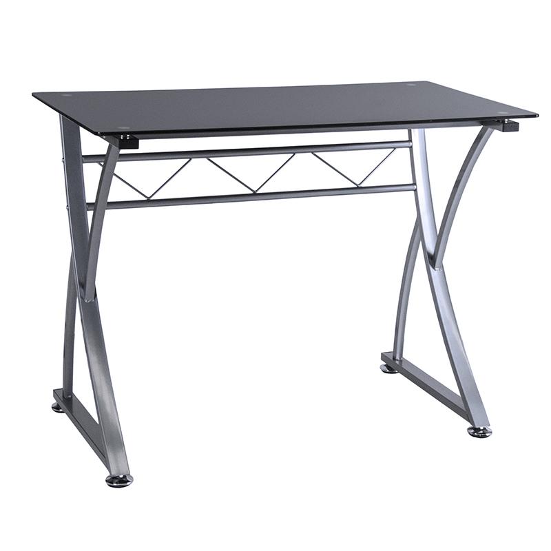 Γραφείο εργασίας μέταλλο-γυαλί σε χρώμα γκρι-μαύρο 100x55x75