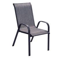"""Πολυθρόνα """"ELEVANTO"""" μεταλλική με textilene σε χρώμα γκρι σκούρο 70x56x94"""