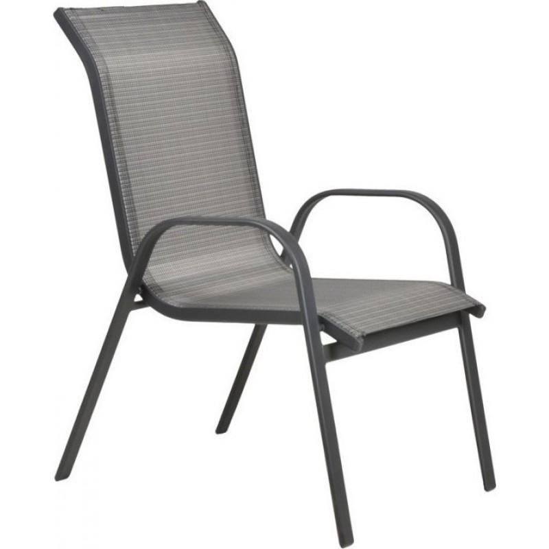 """Πολυθρόνα """"NANDIA"""" αλουμινίου με textilene σε ανθρακί χρώμα 57x71x95"""