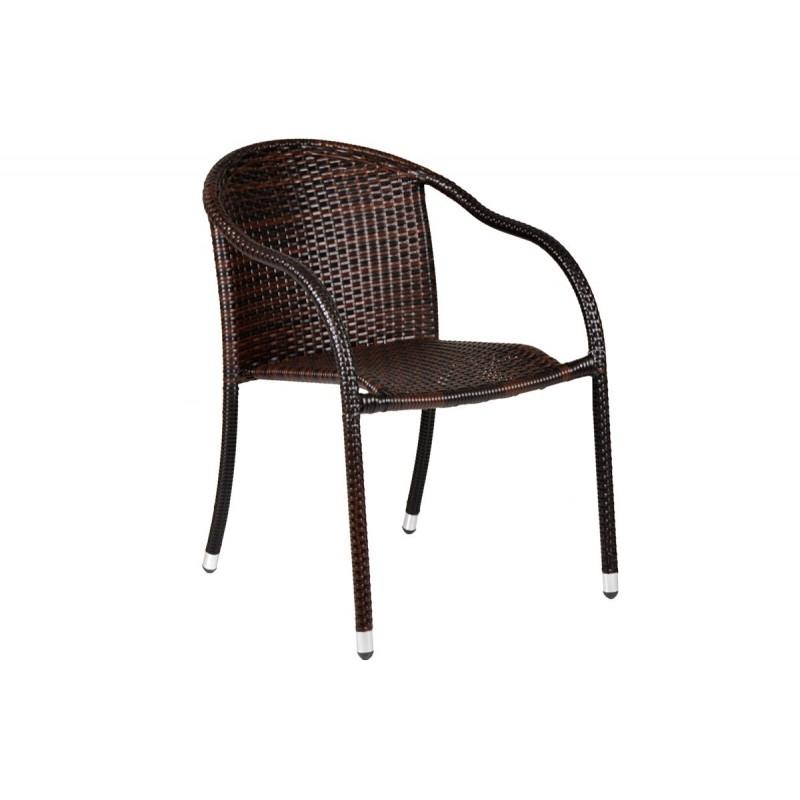 """Πολυθρόνα """"MONICA"""" μεταλλική-wicker σε χρώμα cappuccino 56x68x84"""