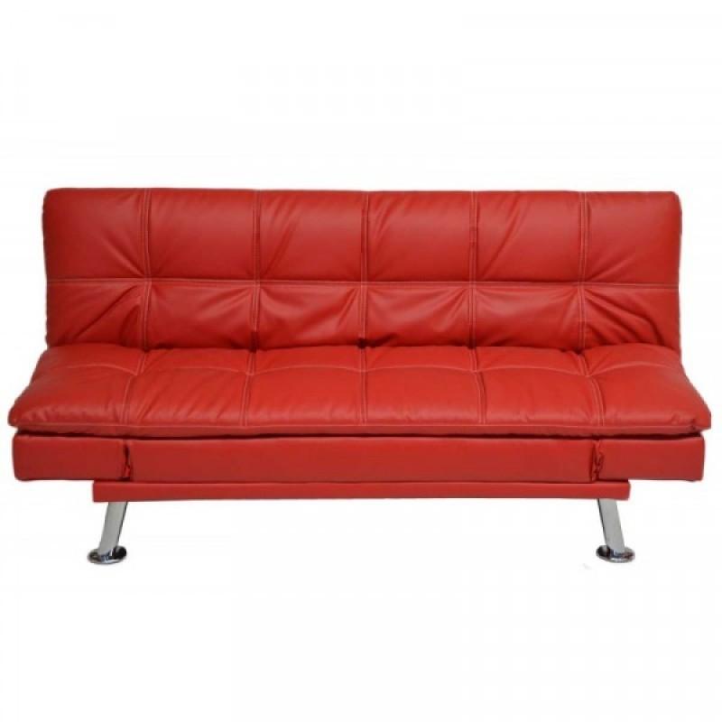 """Καναπές-κρεβάτι """"PRESTO"""" από τεχνόδερμα σε κόκκινο χρώμα 185x94x88"""