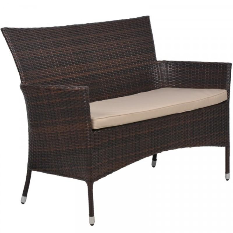 """Καναπές """"MAROCCO"""" κήπου διθέσιος μεταλλικός σε χρώμα cappuccino 115x59x87"""