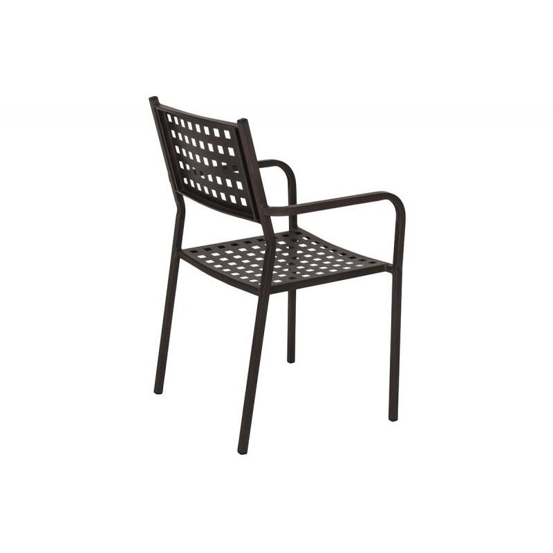 """Πολυθρόνα """"POLLINA"""" μεταλλική σε χρώμα καφέ 54x51x84"""
