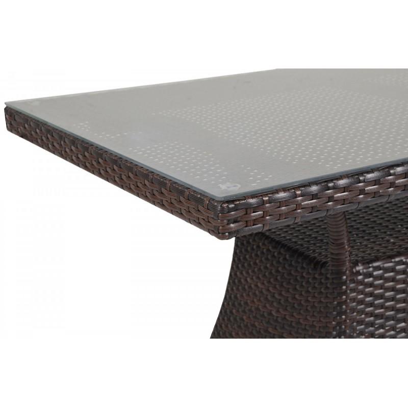 """Τραπέζι """"TORINO"""" αλουμινίου-wicker σε χρώμα cappuccino 110x60x74"""