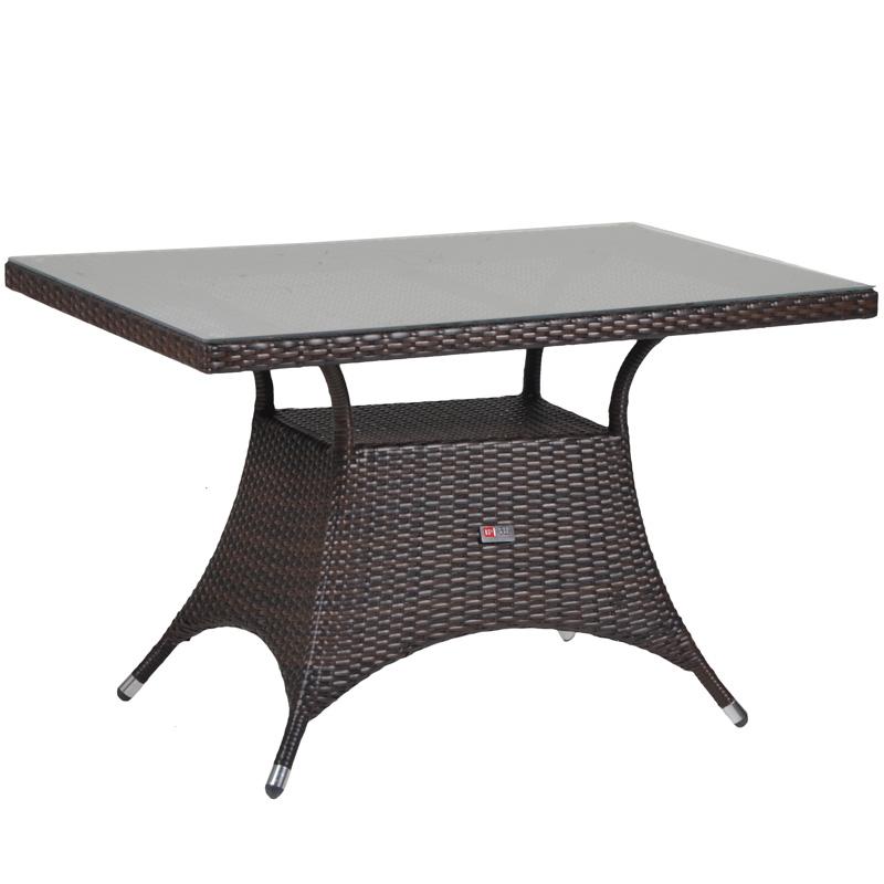 """Τραπέζι """"TORINO"""" αλουμινίου-wicker σε χρώμα cappuccino 120x70x74"""