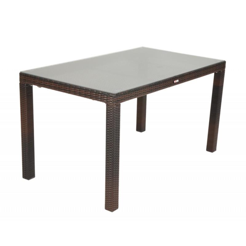 """Τραπέζι """"VIENNA"""" αλουμινίο-wicker σε χρώμα cappuccino 120x70x74"""