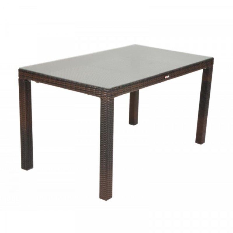 """Τραπέζι """"VIENNA"""" αλουμινίου-wicker σε χρώμα cappuccino 140x80x74"""