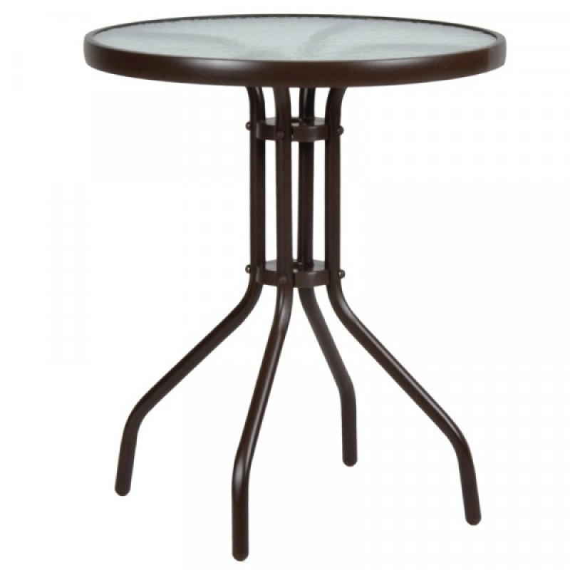 """Τραπέζι """"LIMA"""" μεταλλικό σε χρώμα καφέ Ø60x71"""