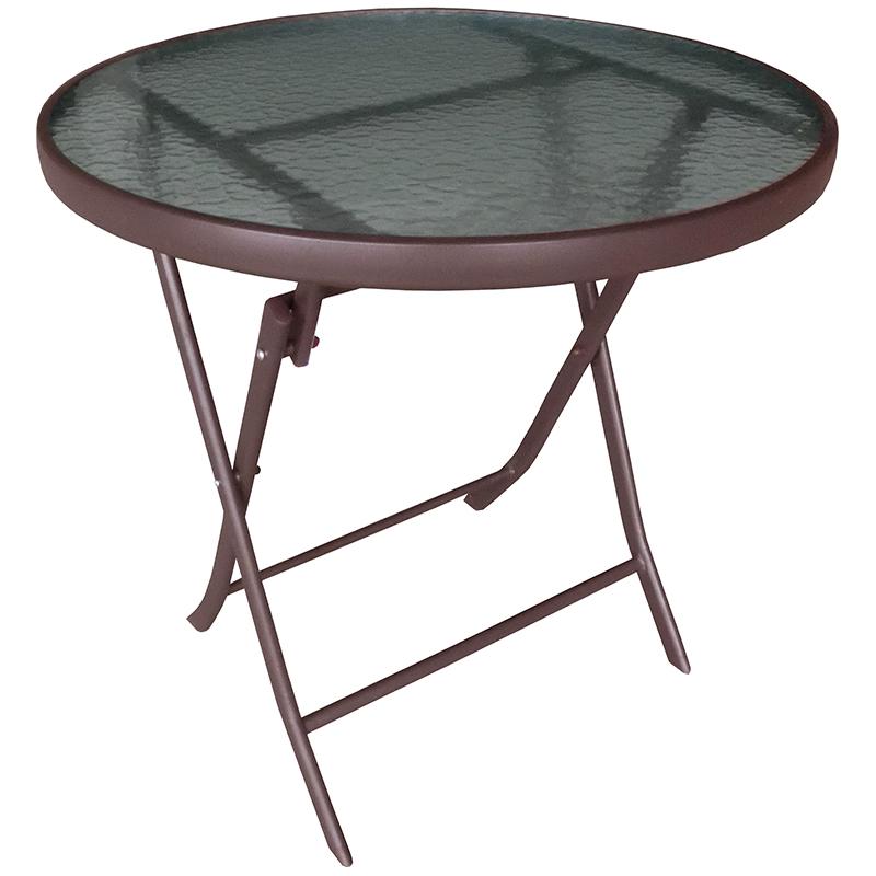 """Τραπέζι """"RENTZO"""" πτυσσόμενο σε χρώμα καφέ Ø70x70"""