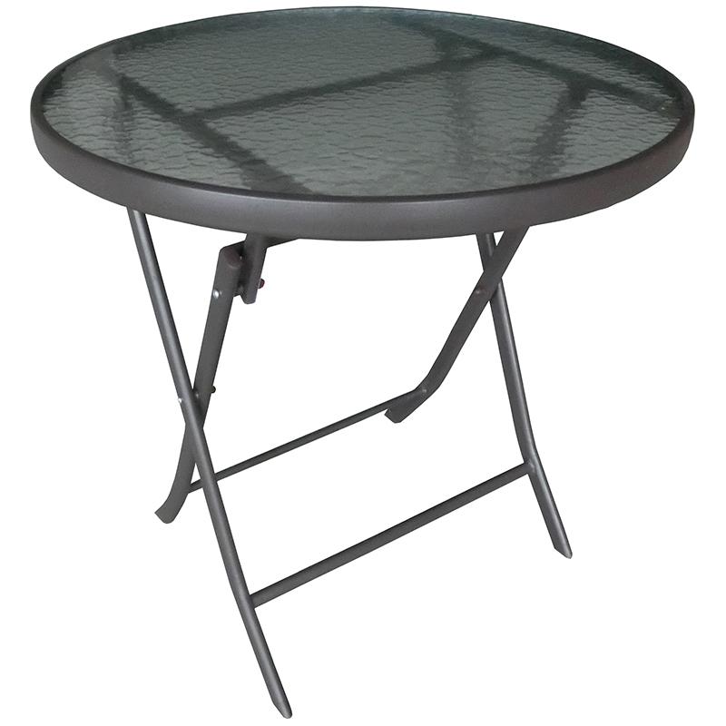 """Τραπέζι """"RENTZO"""" πτυσσόμενο σε χρώμα ανθρακί Ø70x70"""