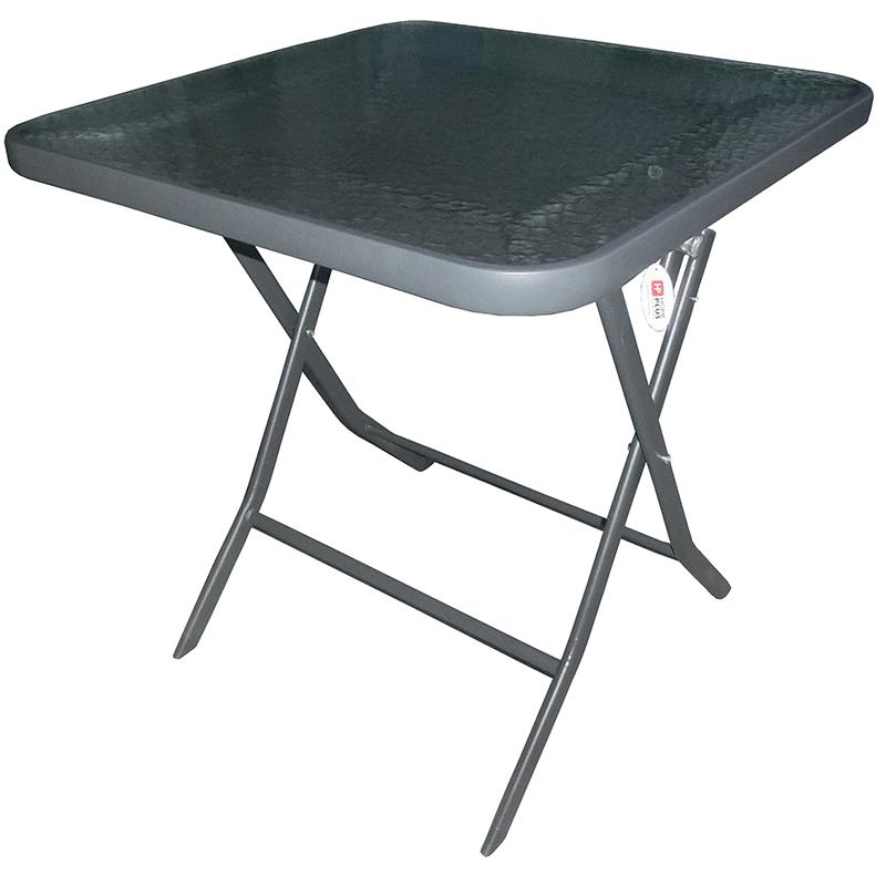 """Τραπέζι πτυσσόμενο """"STILLO"""" μεταλλικό σε ανθρακί χρώμα 70x70x70"""