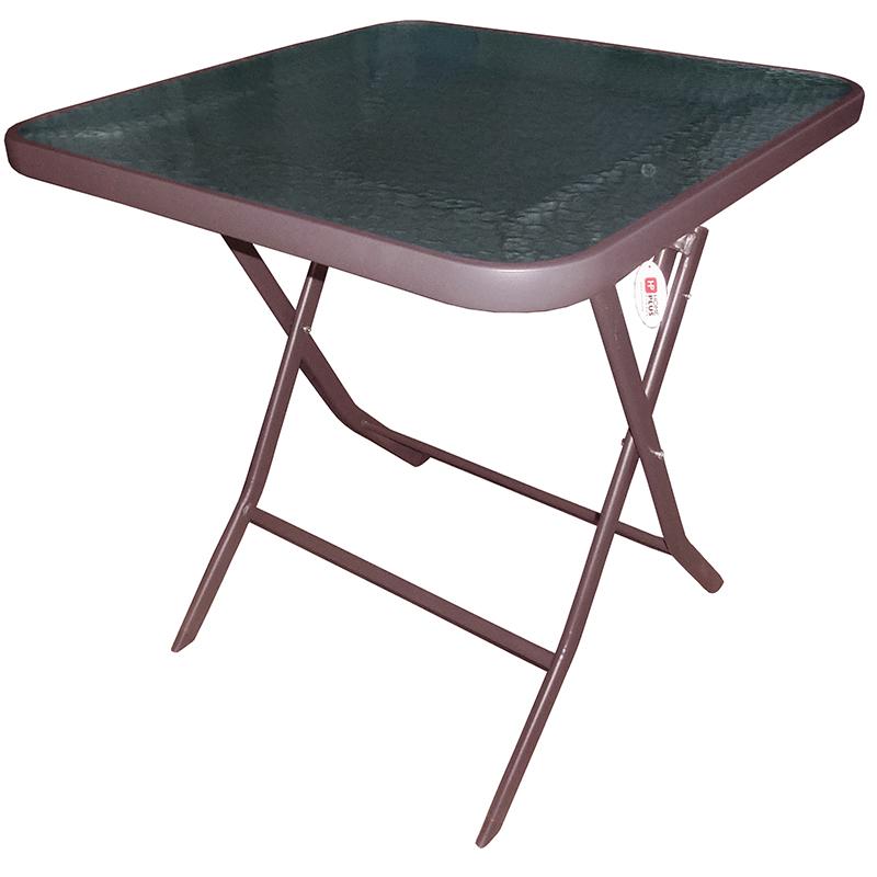 """Τραπέζι πτυσσόμενο """"STILLO"""" μεταλλικό σε χρώμα καφέ 70x70x70"""