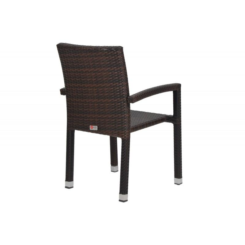 """Πολυθρόνα κήπου """"LINA"""" αλουμινίου με πλέξη wicker σε χρώμα cappuccino 57x58x93"""