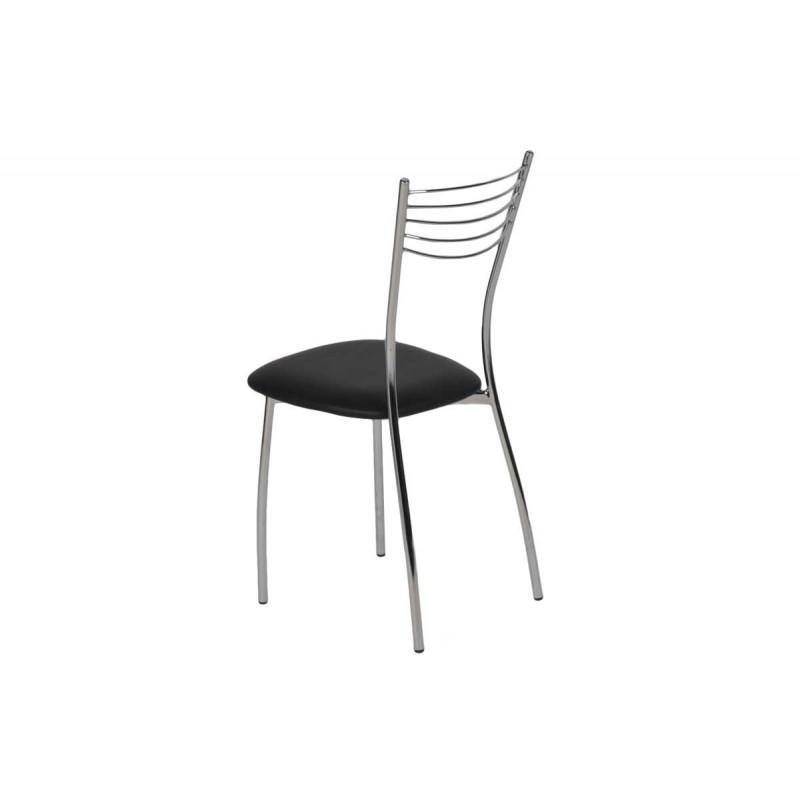 """Καρέκλα """"MALAGA"""" μεταλλική από τεχνόδερμα σε μαύρο χρώμα 39x48x89"""