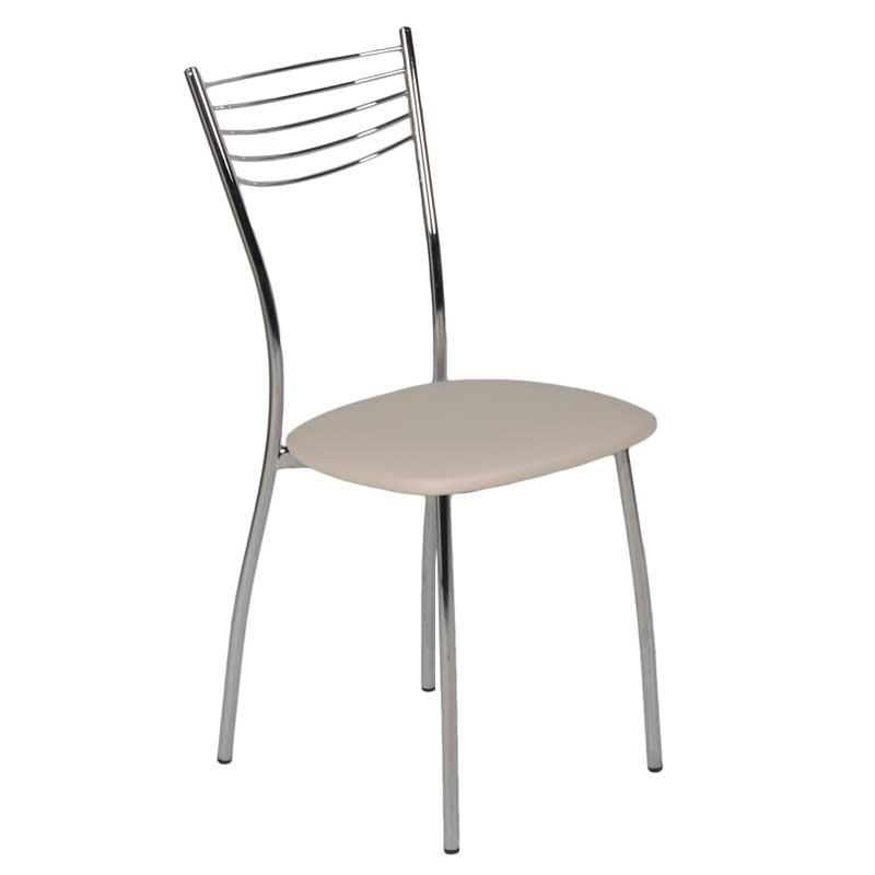 """Καρέκλα """"MALAGA"""" μεταλλική από τεχνόδερμα σε χρώμα εκρού 39x48x89"""