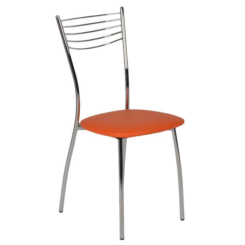 """Καρέκλα """"MALAGA"""" μεταλλική από τεχνόδερμα σε χρώμα πορτοκαλί 39x48x89"""