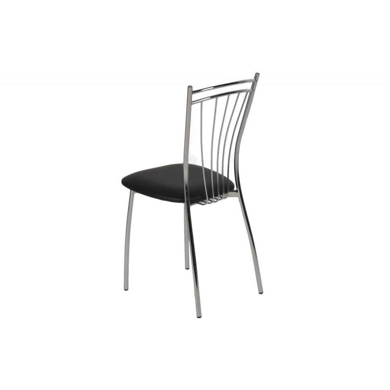 """Καρέκλα """"ROMA"""" μεταλλική από τεχνόδερμα σε μαύρο χρώμα 39x48x89"""