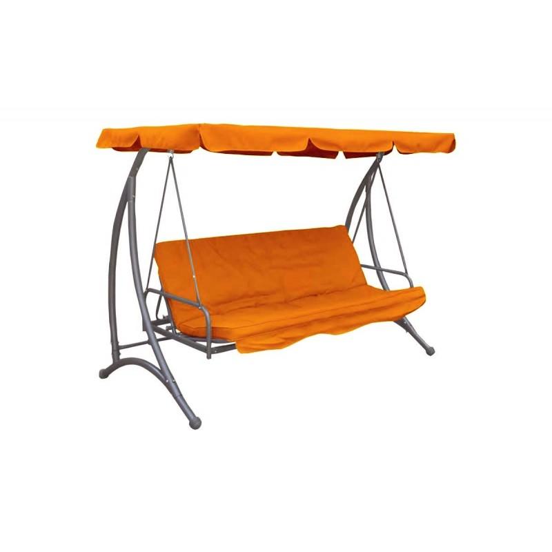 """Κούνια-κρεβάτι """"LORA"""" κήπου-βεράντας 3θέσεων μεταλλική σε χρώμα πορτοκαλί 220x110x170"""