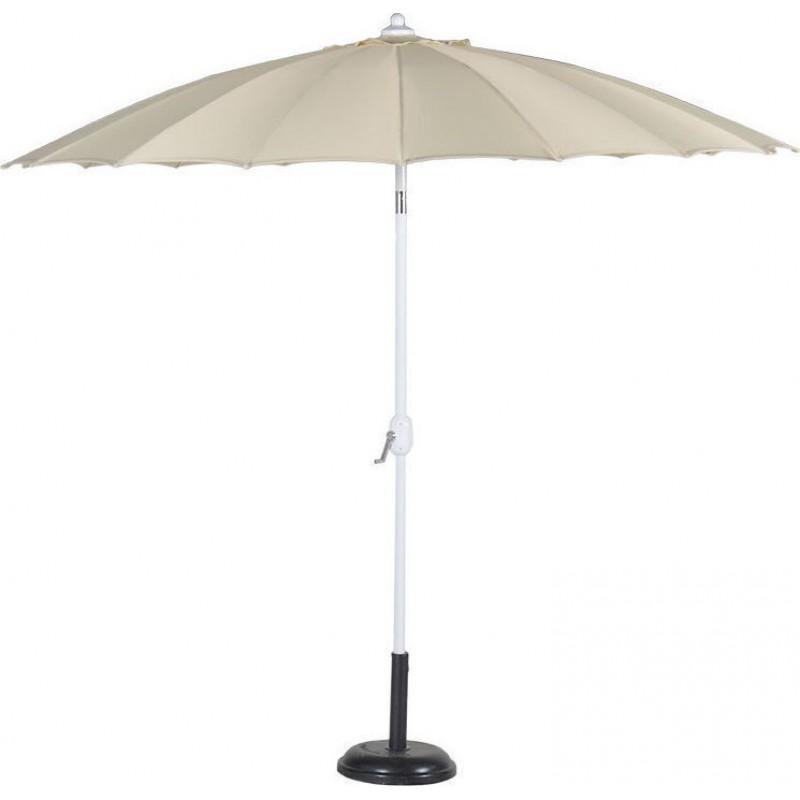 Ομπρέλα στρόγγυλη 2,7 μέτρα αλουμινίου με αδιάβροχο ύφασμα σε εκρού χρώμα