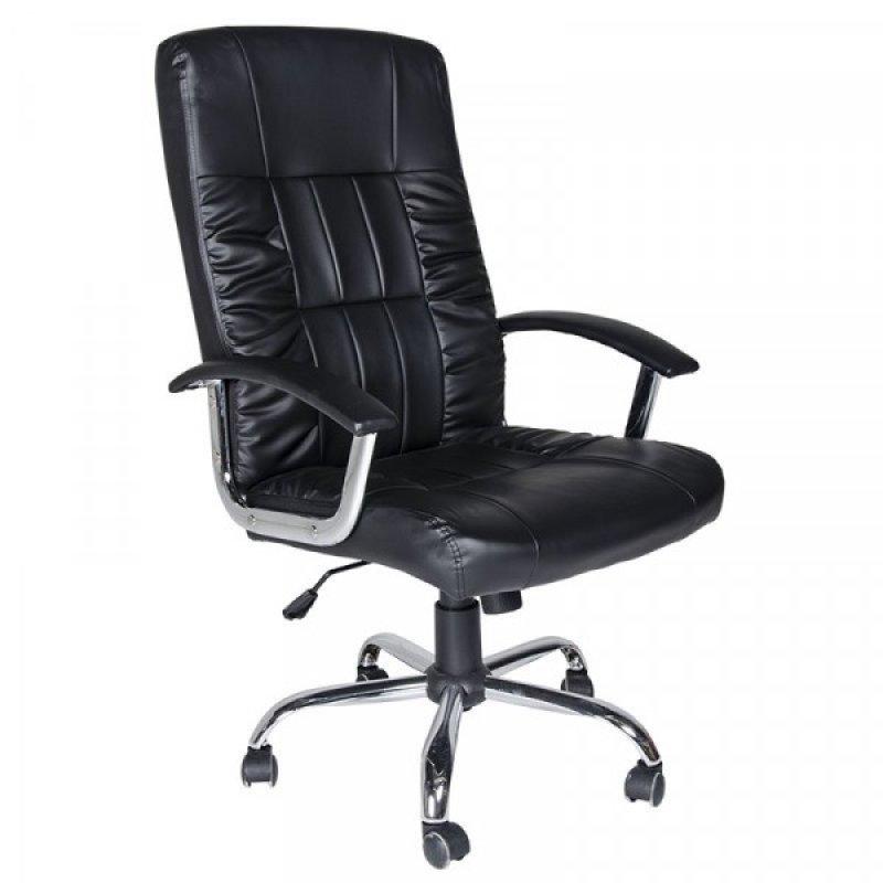 """Πολυθρόνα γραφείου διευθυντή """"Manager"""" από pu σε χρώμα μαύρο 63x70x114-124"""