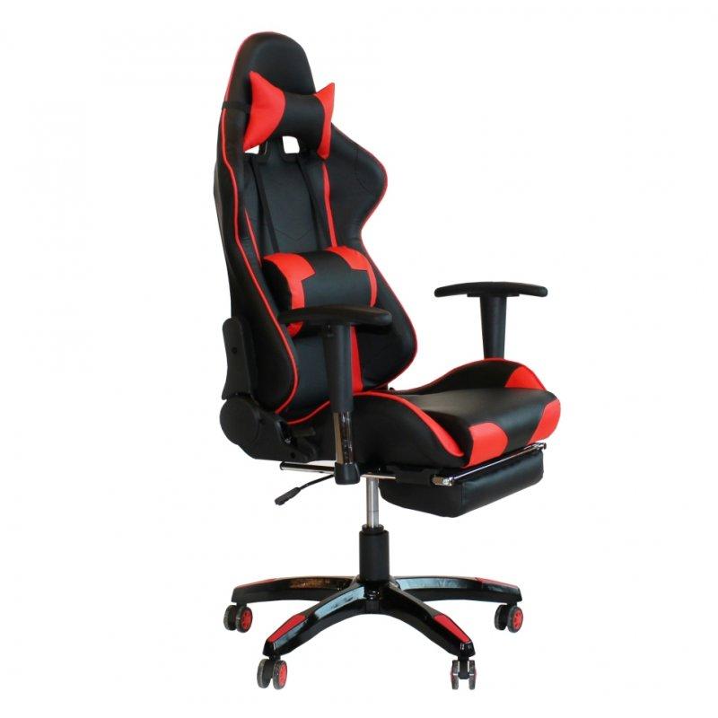 """Πολυθρόνα γραφείου διευθυντή """"Bucket"""" από pu σε χρώμα μαύρο-κόκκινο 60x88x125/133"""