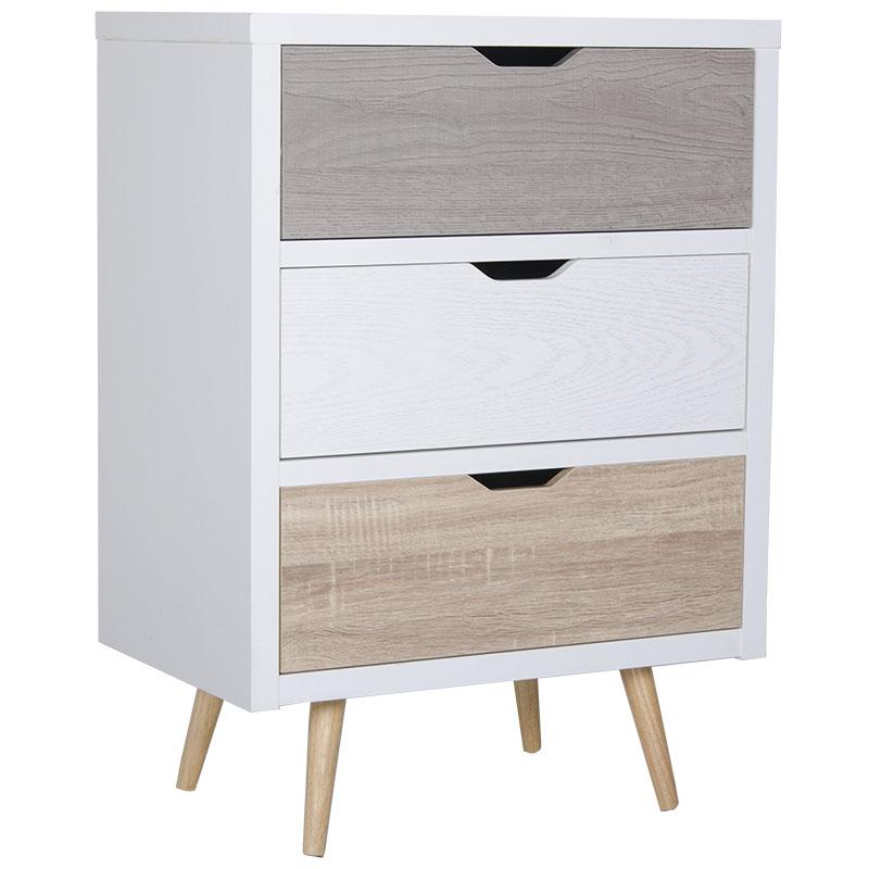 """Συρταριέρα """"EARTH"""" με 3 συρτάρια σε λευκό χρώμα 60x39x83,5"""