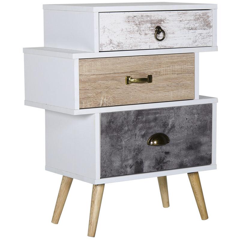 """Συρταριέρα """"EARTH"""" με 3 συρτάρια σε λευκό χρώμα 52x29,5x68,5"""