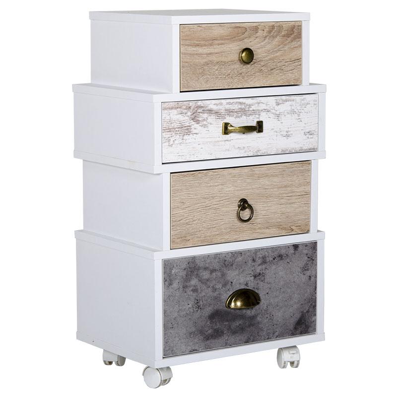 """Συρταριέρα """"EARTH"""" με 4 συρτάρια σε λευκό χρώμα 40x29,5x70,5"""