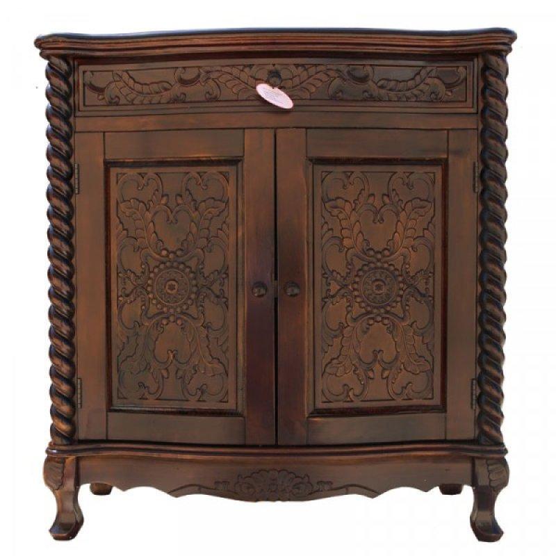 Μπουφές από ξύλο μασίφ σε χρώμα καρυδί  81x35,5x85