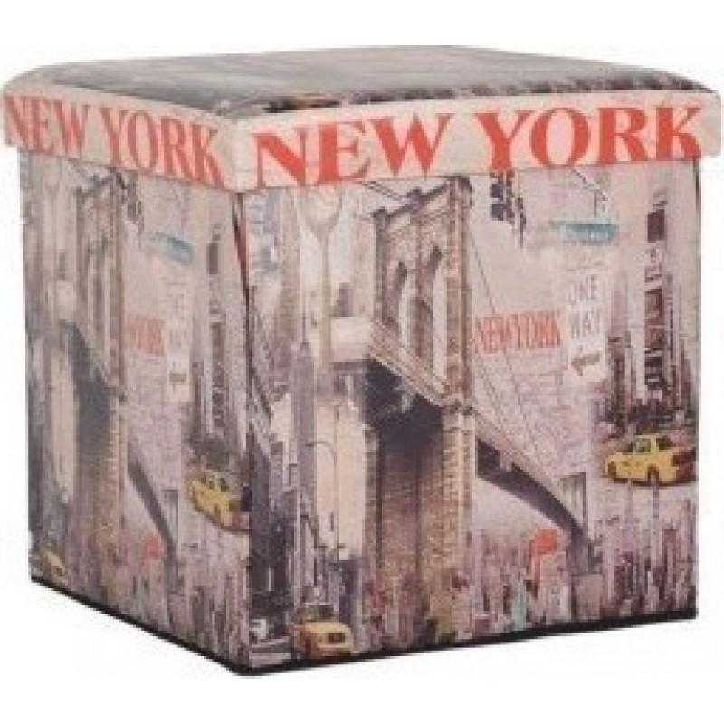 """Σκαμπώ """"NEW YORK"""" πτυσσόμενο από τεχνόδερμα 44x44x44"""