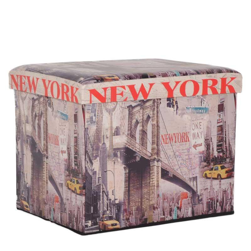 """Σκαμπώ πτυσσόμενο """"NEW YORK"""" από τεχνόδερμα με σχέδιο 52x41x42"""