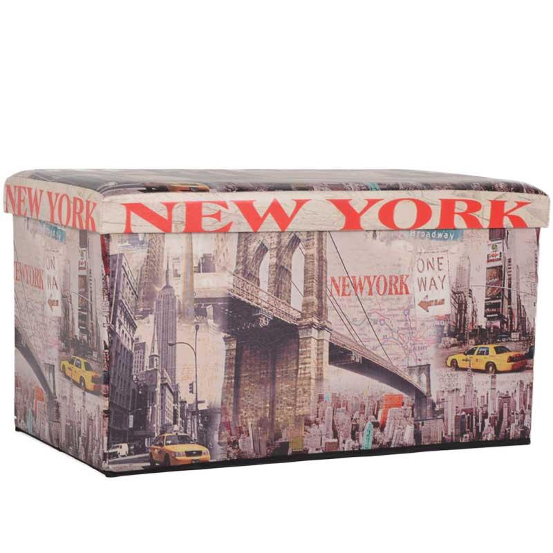 """Σκαμπώ πτυσσόμενο """"NEW YORK"""" από τεχνόδερμα με σχέδιο 76x40x41"""