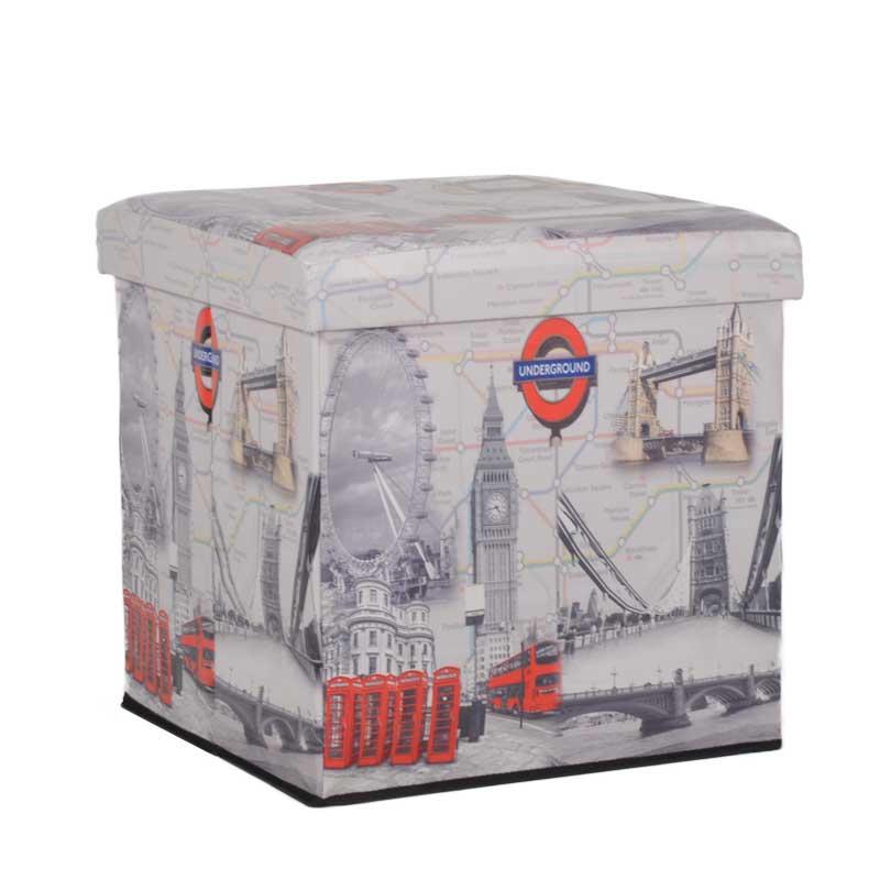 """Σκαμπώ πτυσσόμενο """"LONDON"""" από τεχνόδερμα με σχέδιο 44x44x44"""