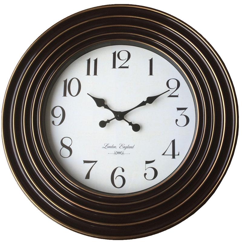 Πλαστικό ρολόι τοίχου σε χρώμα σκούρο καφέ/χάλκινο με λευκό καντράν Φ58