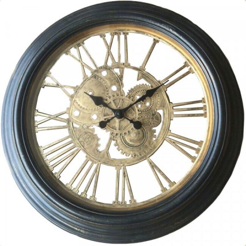 Πλαστικό ρολόι τοίχου σε χρώμα μαύρο με οξυντέ καντράν Φ59
