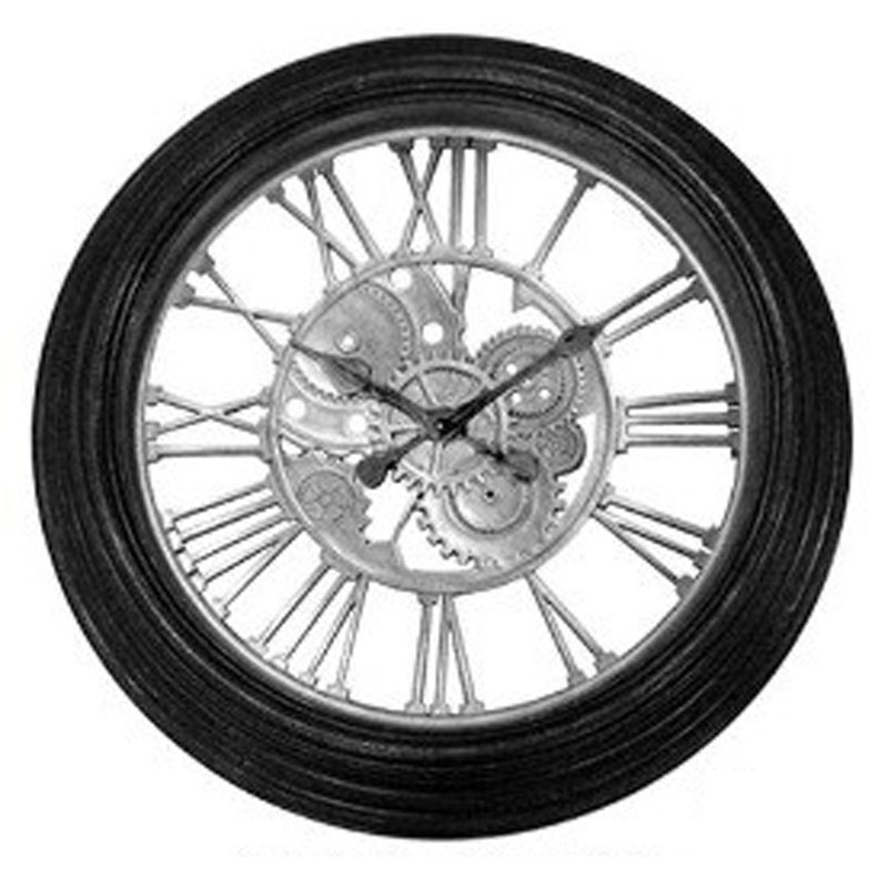 Πλαστικό ρολόι τοίχου σε χρώμα μαύρο με ασημί καντράν Φ59