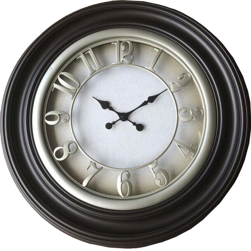 Πλαστικό ρολόι τοίχου σε χρώμα σκούρο καφέ με κρεμ καντράν Φ66