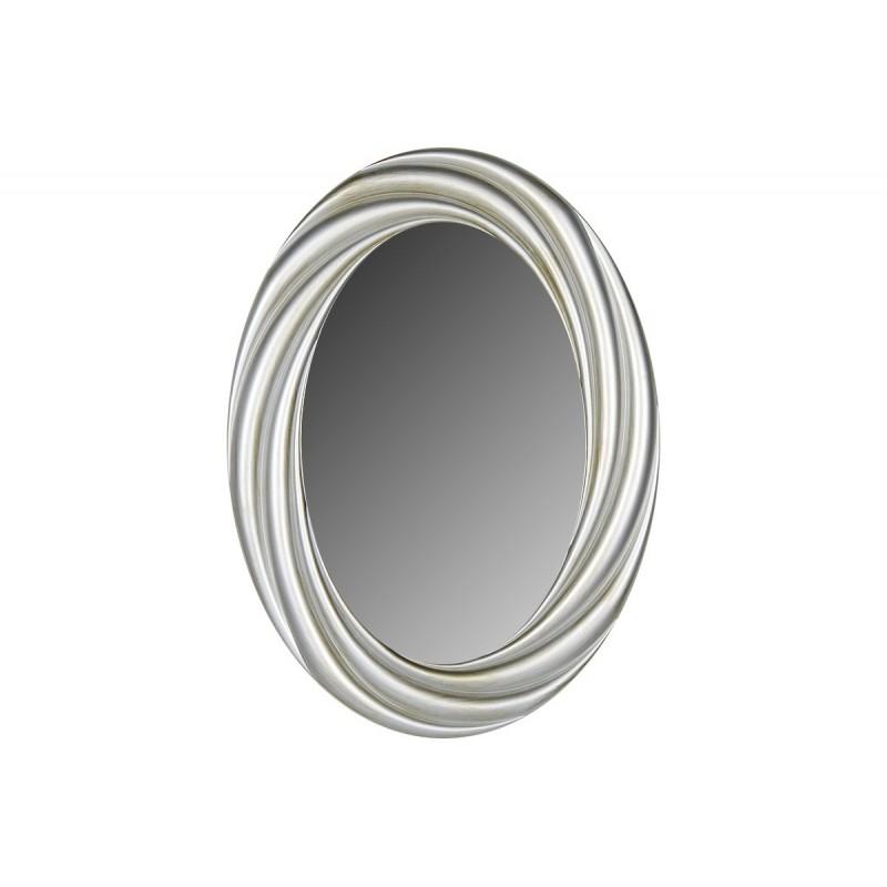 Οβάλ πλαστικός καθρέπτης σε χρώμα κρεμ-σαμπανί 76x56