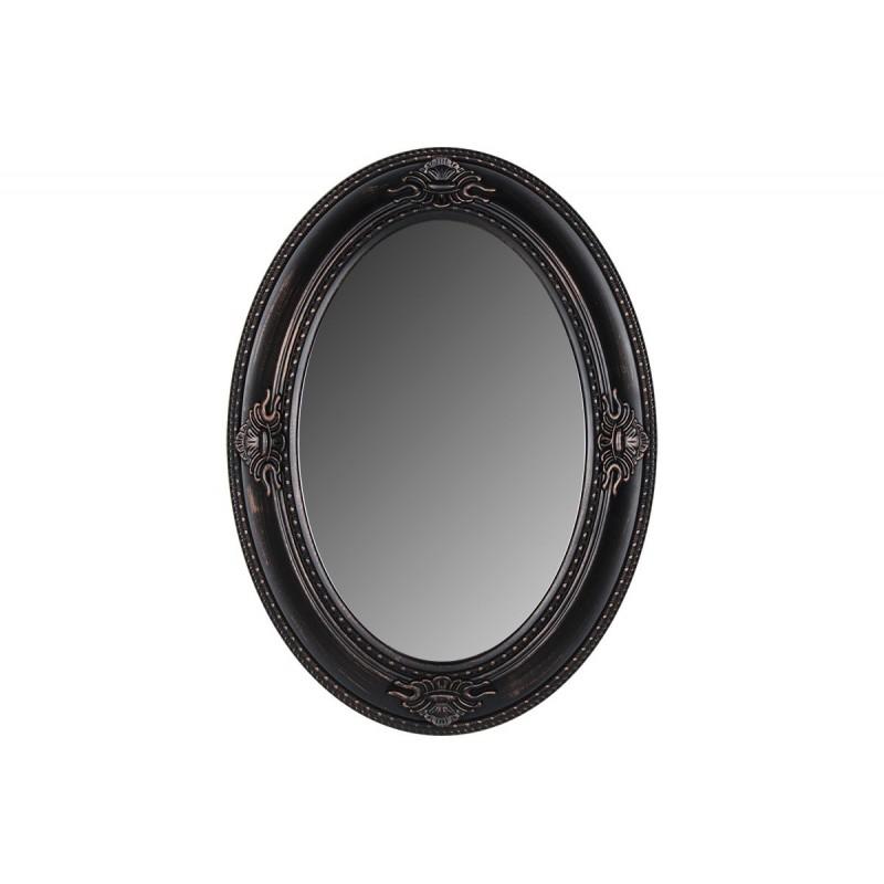 Οβάλ πλαστικός καθρέπτης σε χρώμα μαύρο-μπρονζέ 76x56