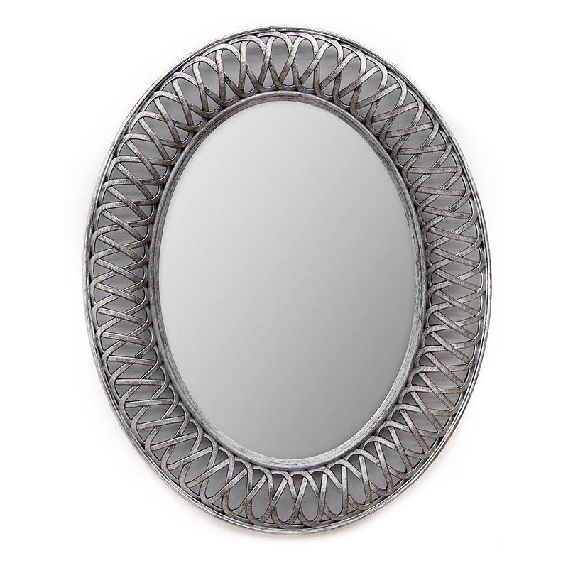 Οβάλ πλαστικός καθρέπτης σε χρώμα ασημί-μπρονζέ 76x61