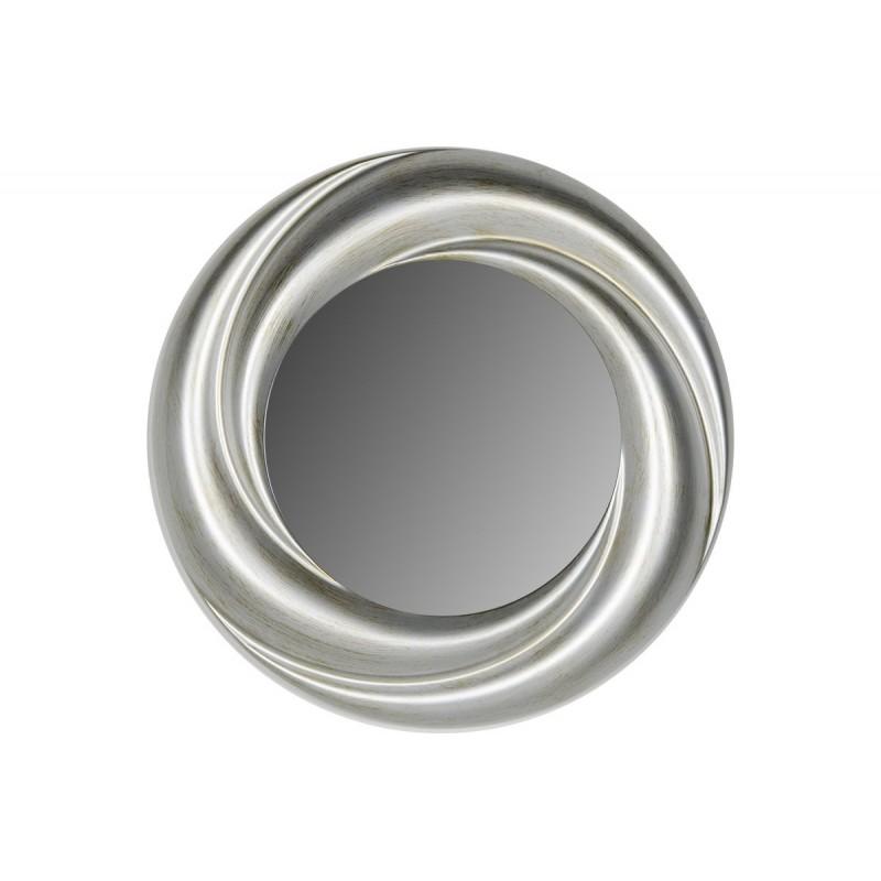 Στρογγυλός πλαστικός καθρέπτης σε χρώμα ασημί Φ71