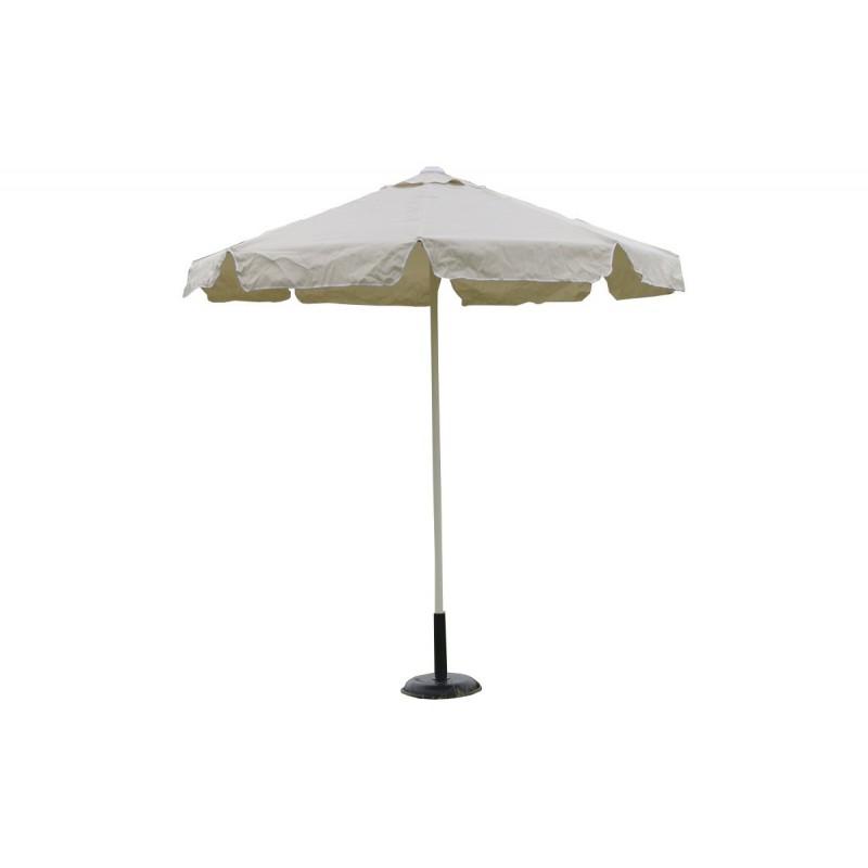 Ομπρέλα στρόγγυλη 2,35 μέτρα επαγγελματική με αδιάβροχο ύφασμα σε εκρού χρώμα