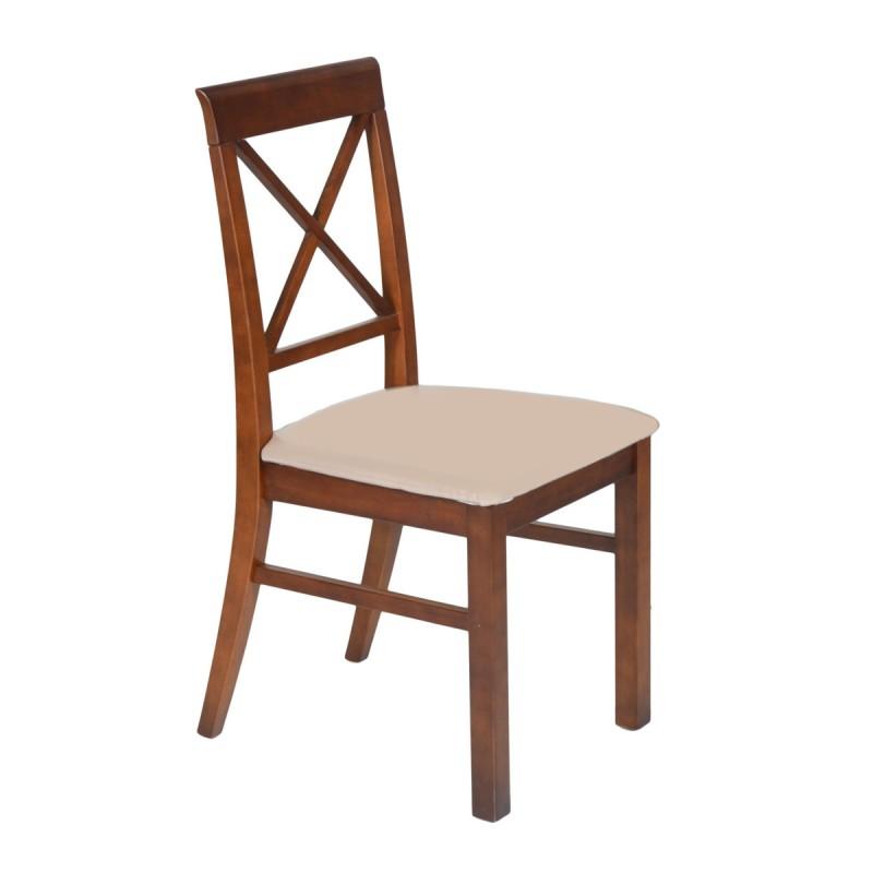 Καρέκλα από μασίφ ξύλο σε χρώμα καρυδί 47x53x95